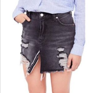 NWOT FREE PEOPLE Black denim skirt
